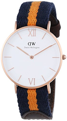 Daniel Wellington Women's Quartz Watch with White Dial Analogue Display and Multicolour Fabric Strap 0554DW