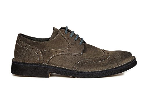 CAFè NOIR TM500 grigio scarpe uomo derby inglese camoscio