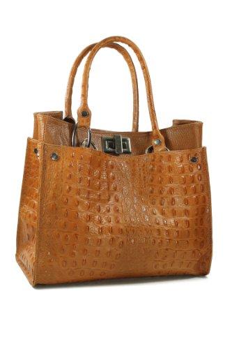 Ital. Vera pelle borsa del modello del coccodrillo Shopper e pelle marrone cognac 31 x 25 x 16 cm (B x t b x)