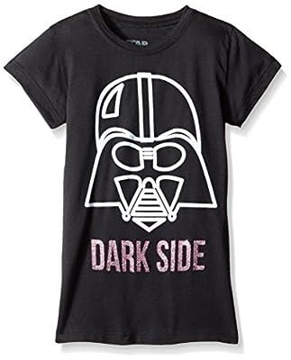 Star Wars Big Girls' Dark Side Vader Face Tee