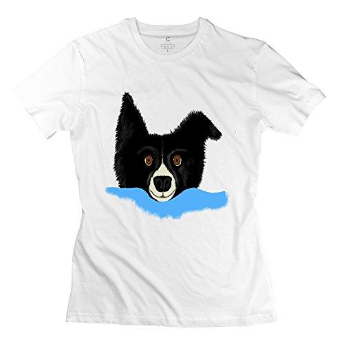 Kst Border Collie Shepherd Dog 100% Cotton T-Shirt Custom Make For Women White Large