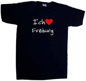 Ich Liebe Freiburg T-Shirt mit V-Ausschnitt, Schwarz