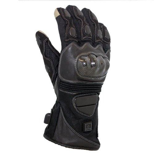 VentureHeat 12V Heated Carbon Fiber Knuckle Motorcycle Gloves (Black, Large)