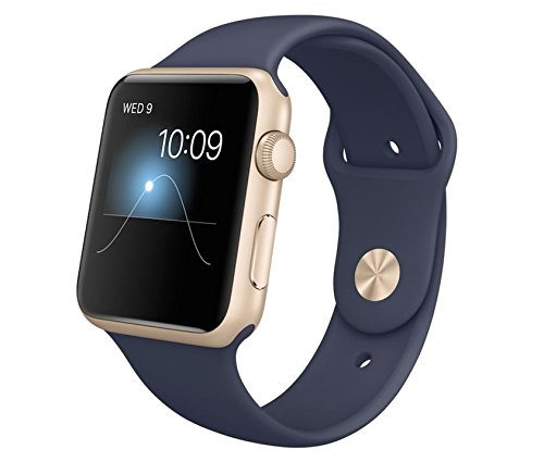 Apple 42 mm Watch Rose Gold Aluminium Case with Midnight Blue Sport...