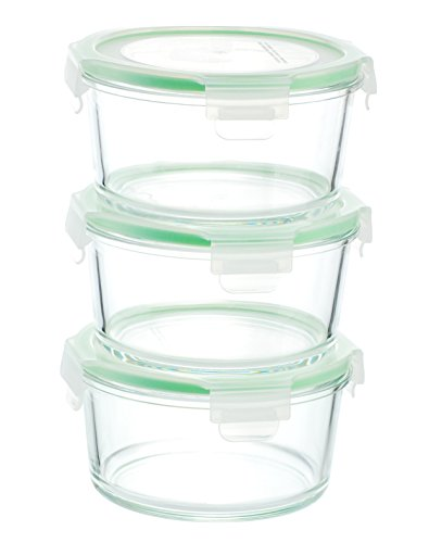 Kinetic GoGREEN Glassworks Series 6 Piece Round Oven Safe Glass Food Storage Container Set 28-Ounce Each (3 Containers and 3 Lids) 01333 (Glass Container Round compare prices)
