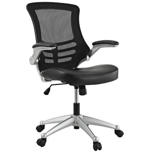 LexMod Attainment Office Chair with Black Mesh Back and Leatherette Seat