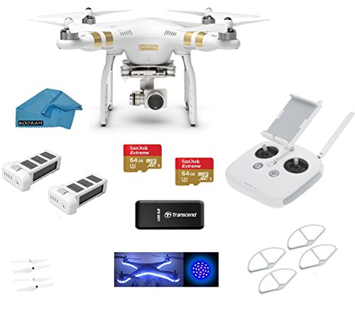 Purchase DJI Phantom 3 Professional (Pro) 4K Video Camera + 2 DJI Extra Batteries + Prop Guards + 2 ...