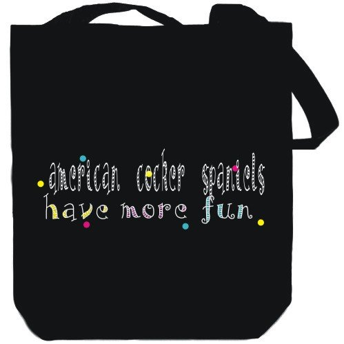 Canvas Tote Bag Black American Cocker Spaniels have more fun Dogs