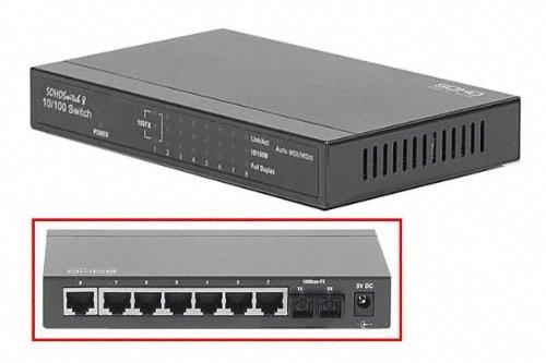 Switch réseau RJ45 7 ports 100 mbps + fibre SC.