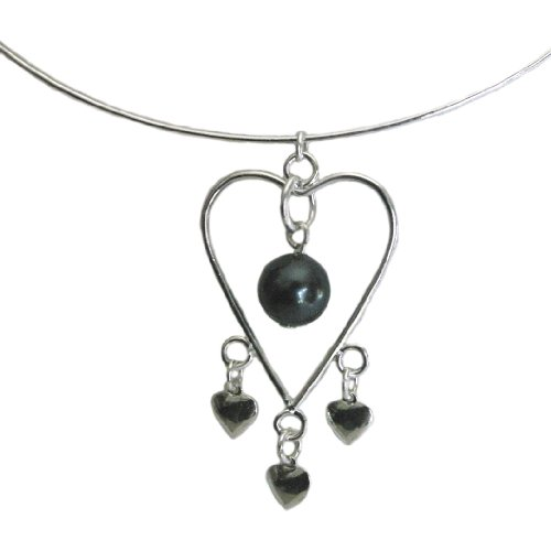 Adjustable Wire Heart Collar Necklace with SWAROVSKI ELEMENTS Tahitian Pearl