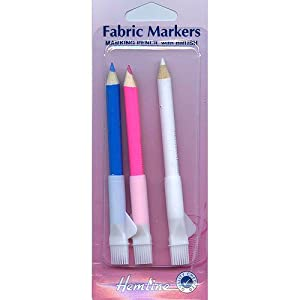 Hemline Dressmaker Fabric Marking Pencils with Brush, Set of 3