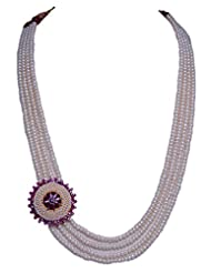 4 Rows Of Pearl Necklace With Pearl & Ruby Studded Pendant