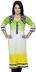 Devansh Women's Free Size Green,White & Yellow Shaded Long Stitched Cotton Kurtis