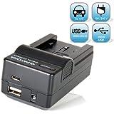 Bundlestar Akku Ladegerät 4 in 1 inklusive Ladeschale für Akku Panasonic VW VBT190 VBT380 E -- NEUHEIT mit Micro-USB Steckplatz