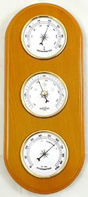 Oak Finished Weather Station Combines thermometer, barometer, hygrometer by Lily's Home