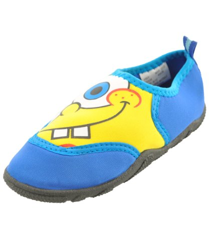 "Spongebob Squarepants Little Boys' Toddler ""Dunk Me"" Aquasocks Water Shoes - Blue, 5/6 back-1055702"