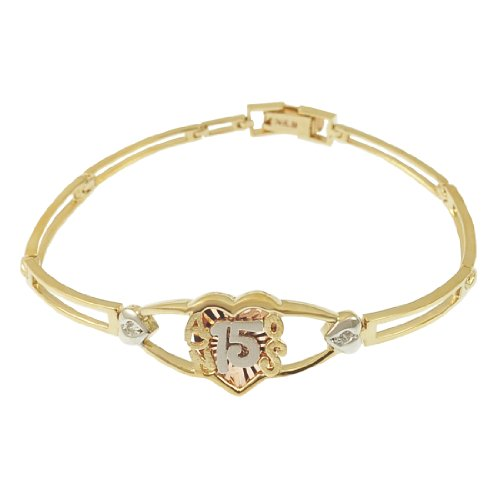 14k Tricolor Gold, 15 Anos Quinceanera Heart Bracelet with Lab Created Gems 13mm Wide