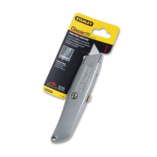 Stanley Bostitch Products - Stanley Bostitch - Classic 99 Utility Knife W/Retractable Blade, Black - Sold As 1 Each - Retractable Die-Cast Handle Also Stores Blades. - Three Cutting Positions. - Includes Three Heavy-Duty Blades.
