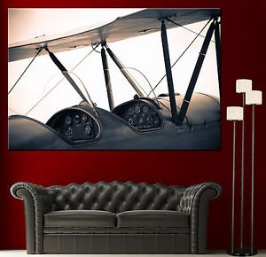 LanLan Vintage Biplane Propeller Airplane Canvas Print Photo Prints Propellers Decor 2,Size:12 x 18 inches Unframed
