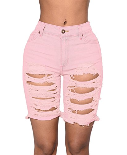 PEGGYNCO Womens Pink Distressed Cutoff Bermuda Shorts Size S Rugged Cut Off Short
