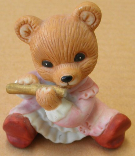 Homco Ceramic Bear Playing Flute - 2 inches tall