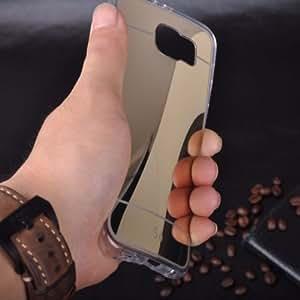 Samsung Galaxy S6 Edge PLus - Luxury Soft Clear Gel TPU Ultra thin Mirror Back Case (Gold)
