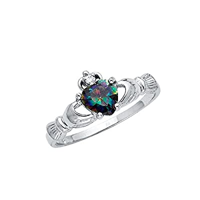 .925 Sterling Silver Rhodium Plated CZ Rainbow Heart Irish Celtic Claddagh Ring