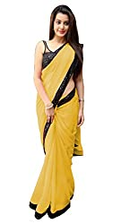 Women's Exclusive Yellow Georgette Plain Sari with Blouse