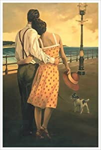 View of the Bay (Couple on the Promenade) Art Print Poster by Graham Reynolds