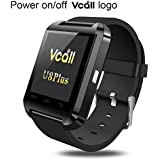 SmartChina U8 Bluetooth Touch Screen Smart Watch with Camera for Android OS and IOS Smartphones - Black