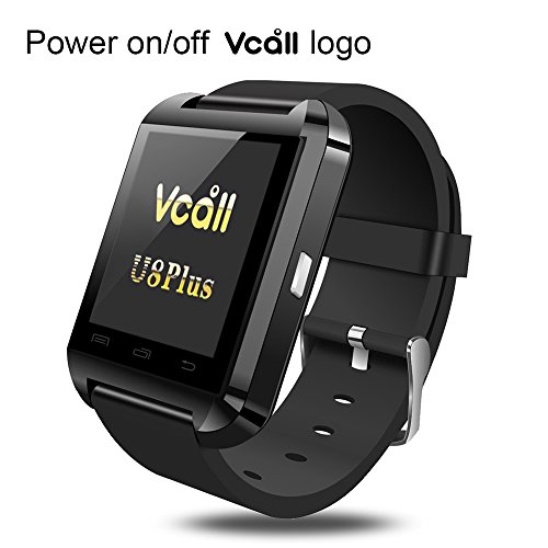 VCALL U8 Plus Bluetooth Smartwatch Smart Watch Wristwatch Long Battery Life Barometer Phone Mate for Samsung Huawei HTC Android Smartphones-Black