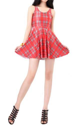 Women'S Pleated Knee-Length Red Plaid Pattern Reversible Skater Dress