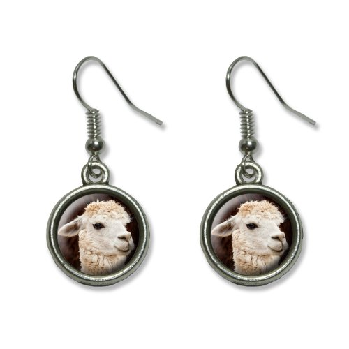 White Llama Novelty Dangling Dangle Drop Charm Earrings