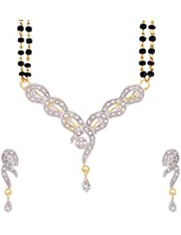 YouBella Women's Pride American Diamond Gold Plated Mangalsutra Pendant With Chain And Earrings For Women - B01B0TMIRW