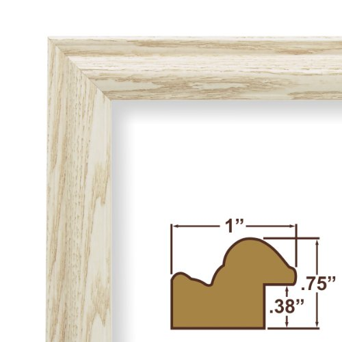 "20x28 Custom Picture Frame / Poster Frame 1"" Wide Complete Whitewash Wood Frame (130ASHWW)"