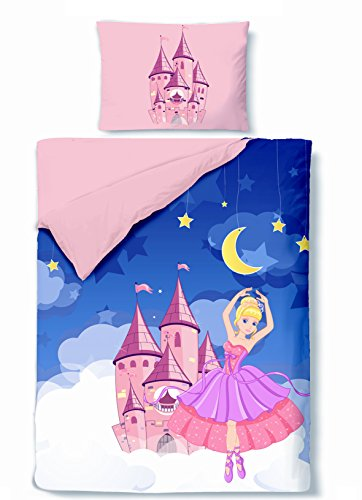 Aminata-Kids-himmliche-Mdchen-Kinder-Bettwsche-100x135-rosa-blau-Prinzessin-Ballerina-mit-Schloss-Mond-und-Sternen-Bettwsche-Kinder-Wende-Bettwsche
