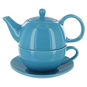Tea for One Light Blue Gloss Finish - English Tea Store Brand by Online Stores, Inc.
