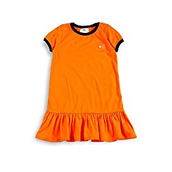 cherry crumble california Girls' Dress (WS-AG-006-6, Orange, 5-6 Years)