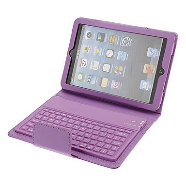 Purple Litchi Grain Protective Pu Leather Case With Keyboard Built-In For Ipad Mini