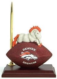 NFL Denver Broncos Team Spirit Mascot Football Clock and Pen Desk Set