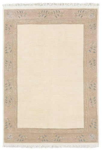 """Hand-Knotted Carpet Nepal Cream """"6 Sizes Availlable"""" 4Ft6""""X6Ft5"""""""