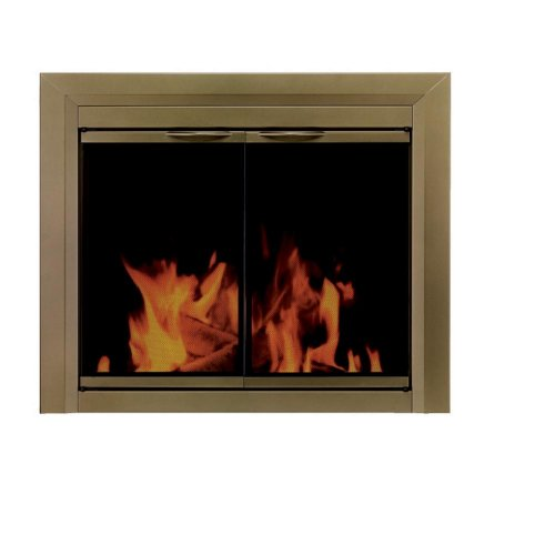 Pleasant Hearth CA-3201 Cahill Fireplace Glass Door, Antique Brass, Medium (Antique Fireplace Screen compare prices)