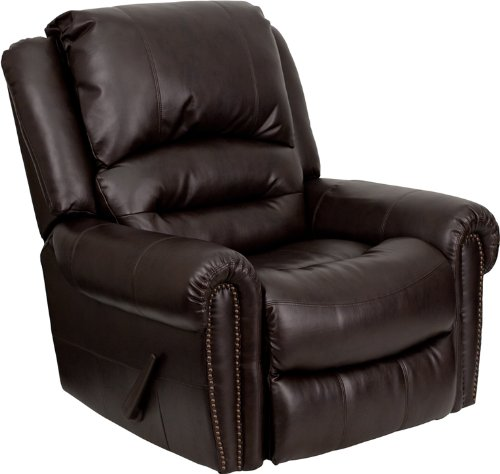 Flash Furniture MEN-DSC01056-BRN-GG Plush Brown Leather Rocker Recliner - 1
