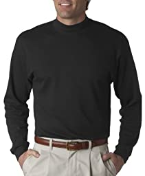 UltraClub Mock Turtleneck 8510 Mens Egyptian Interlock Long-Sleeve M Black