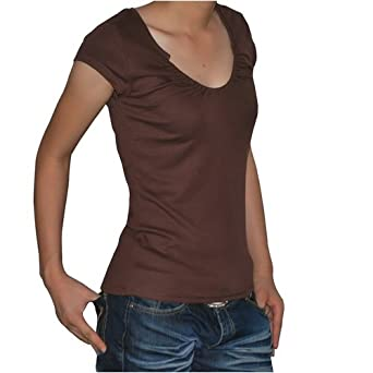 Calvin Klein CK Jeans Womens Brown cotton Jersey short sleeve t shirt blouse