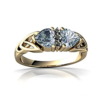 14kt Gold Aquamarine and Diamond 5mm Heart Celtic Trinity Knot Ring
