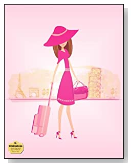 Europe In Pink Notebook - Travel, shopping and Europe go hand-in-hand. Stylish traveler against a backdrop of Europe's favorite cities graces the all pink cover of this blank and college ruled notebook with blank pages on the left and lined pages on the right.