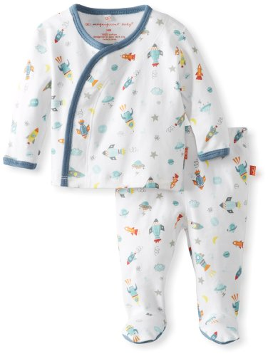Magnificent Baby Baby-Boys Newborn Long Sleeve Kimono Top And Pants, Rockets, Premie front-517396