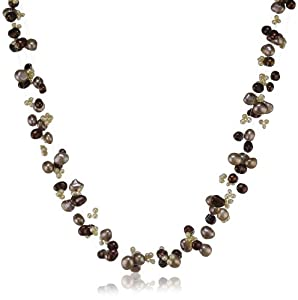 Valero Pearls Fashion Collection Damen-Halskette 925 Sterlingsilber Süßwasser-Zuchtperlen barockbraun hellbraun sand 43+5 cm 60200104