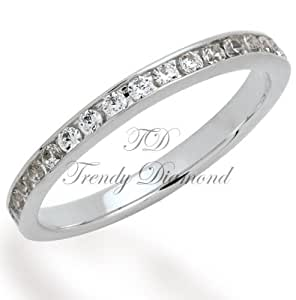 24k white gold plated rings with white cz